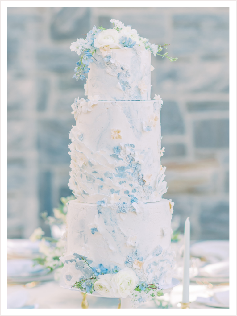 3 Tiered Wedding Cake Styled on a Reception Table
